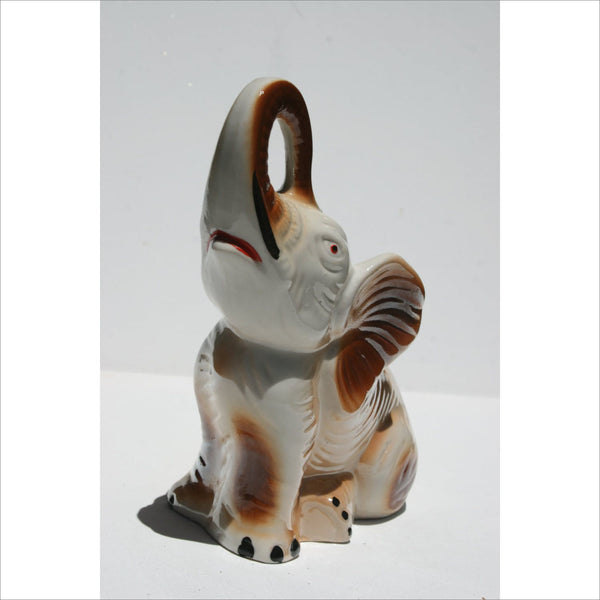 50s Ceramic ELEPHANT Trumpeting  Lucky Elephant Hand Painted Figurine In Brown Black Red and White