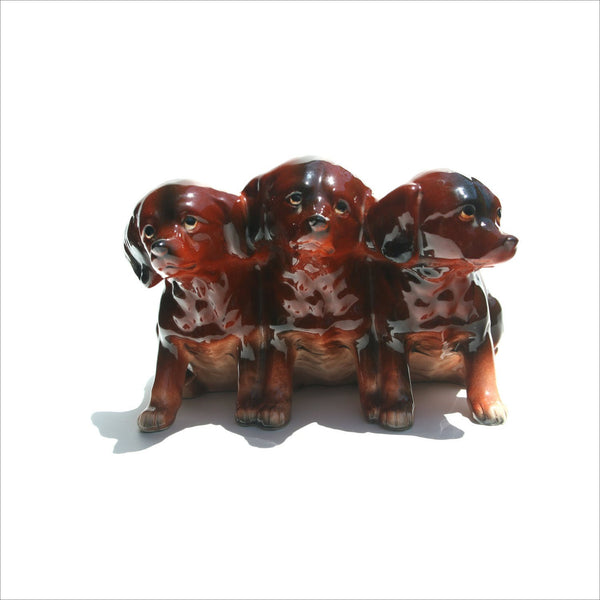 50s Dachshund Wiener Dog Puppies  Planter Pen Cup ENESCO Japan Collectible Cute Pottery