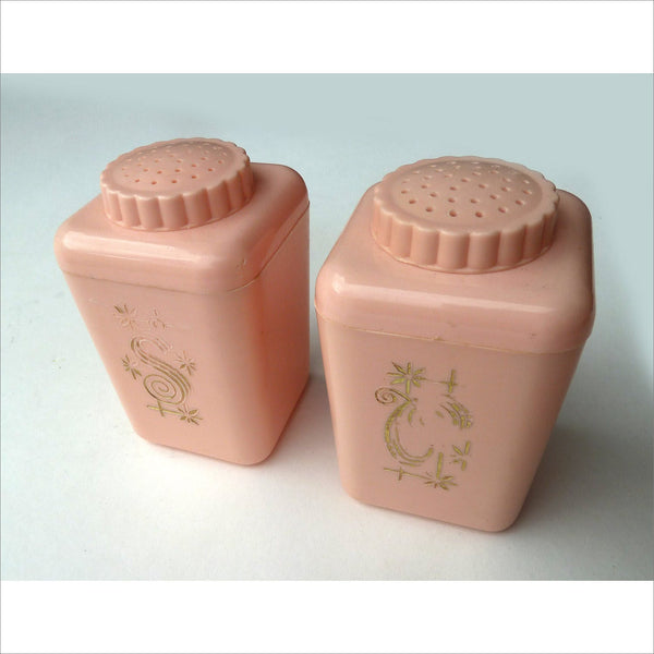 50s Powder Pink Salt and Pepper S & P Gold Letters Atomic Collectible Mid Century Modern Feminine