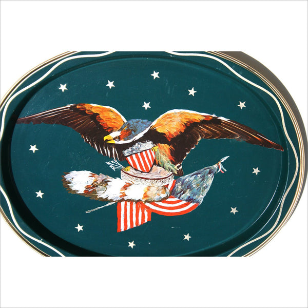 50s Sea Hawk Eagle Mad Men Mid Century Modern Bar Tray American Eagle Flag Stars and Stripes