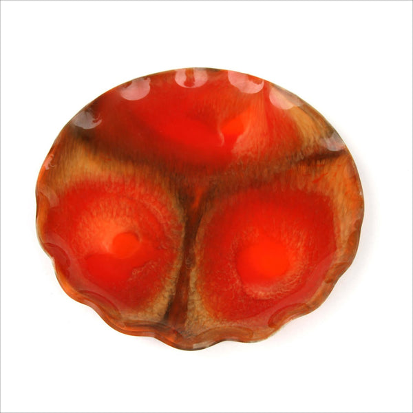 60s MOD Vintage Burnt Orange ABSTRACT Gem Tone Decorative Ruffle Plate Made in CANADA Designed by Lester Bertsch