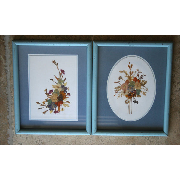60s Pressed Field Flower Bouquet Arrangements Matted Framed Laminated in Hand Painted Frames