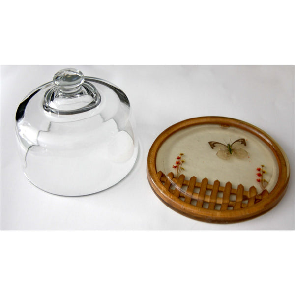 60s Serving Platter Glass Dome Lid for Cheese Cake with Butterfly Picket Fence Resin Tray Hand Made