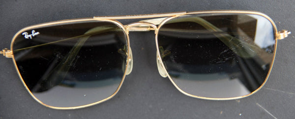 1f2a169cba6d ... 60 s Vintage b l RAY BAN USA 24k Gold Filled Caravan Pilot Aviator  Sunglasses RayBan Sunglasses Gold