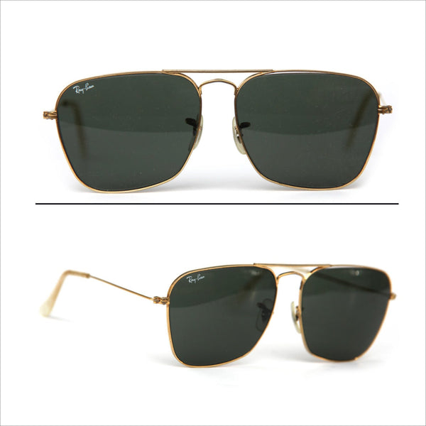 60's Vintage b&l RAY BAN USA 24k Gold Filled Caravan Pilot Aviator Sunglasses RayBan Sunglasses Gold Dark Green Glass Lenses 58mm