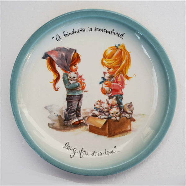 70s Best Friends Box of Kittens Collectible Plate - A kindness is remembered long after it is done GIGI Collectors Edition Made in USA
