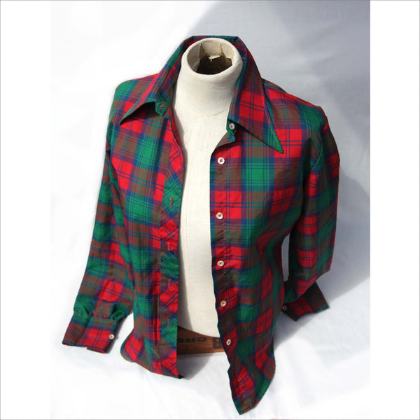70s EMILIO PUCCI Womens Shirt Vintage Red Green PLAID Oversized Lapel Collar Women's Shirt with Arrow Point Cuffs Red Green Brown Patchwork