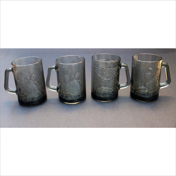 70s McDonald's GRIMACE CAPTAIN CROOK Basketball Tennis Smoke Grey Glass Mugs Used Set of 4