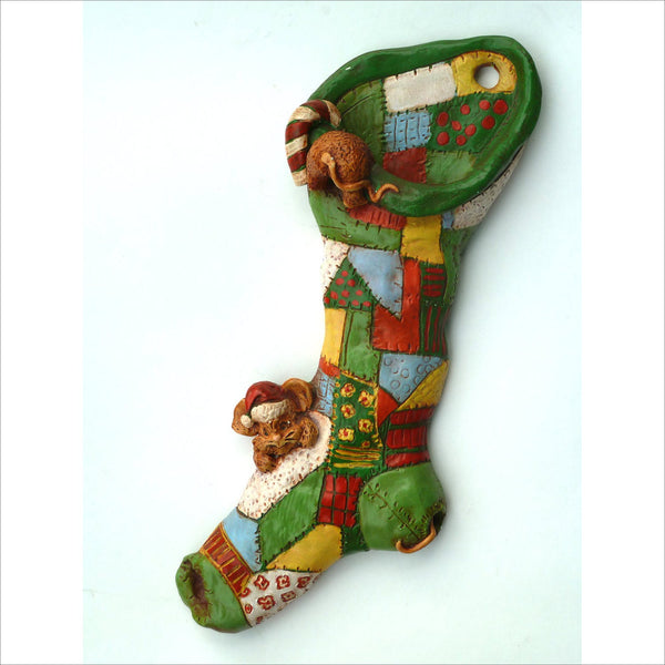 70s Vintage Christmas Patchwork Stocking  with little Mice with Santa Hats Playing Hiding Bright Yellow Green Blue Red Fabrics