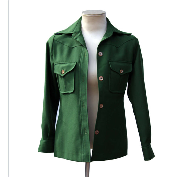 70s Vintage Womens Shirt PANTHER Green  Oversized Lapel Collar with Arrow Point Cuffs Ladies Garment Made in the USA Union Made