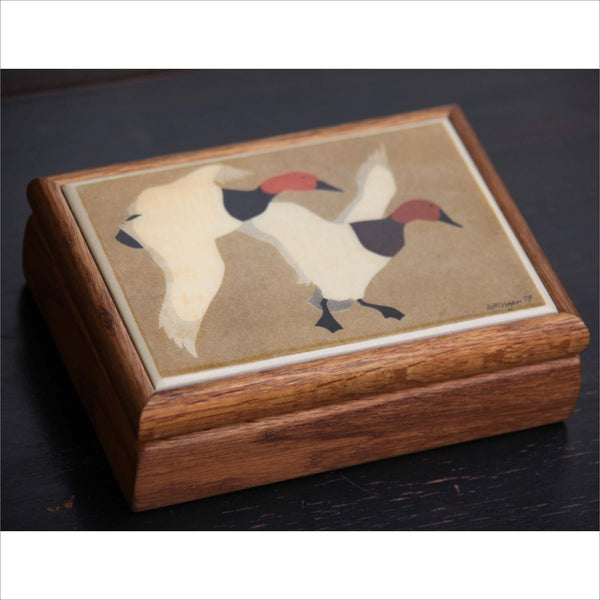 79 Vintage Wood Oak Jewelry Box GEESE Tile Signed  W. MORGAN  Red Lined Lidded box Keepsakes Jewels Rings
