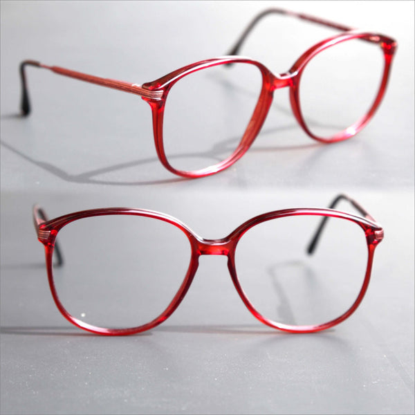 80s CHERRY Red KEYHOLE Oversized Meryl Marcolin Prescription Eyeglasses made in ITALY
