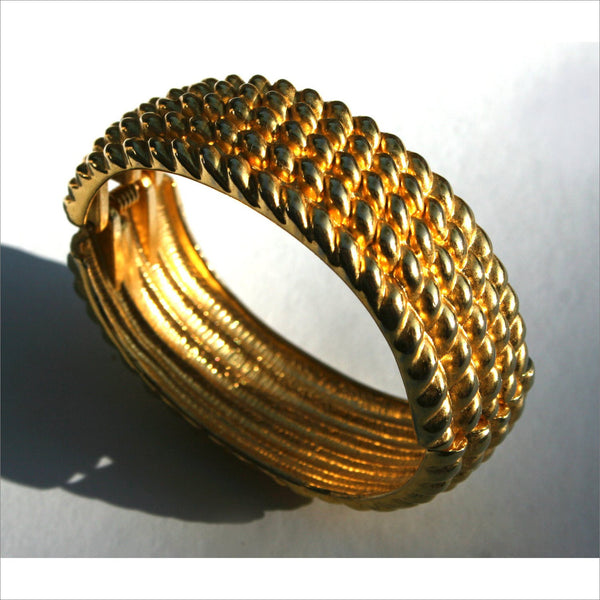80s Gold Bangle Cuff Bracelet Sparkling and Reflective Twisted Hinged Nautical Rope