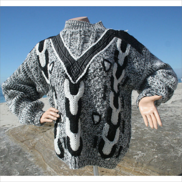 80s Sweater Street Scene Tribal Leather Knit Sweater Loose Baggy Leather Acrylic Grey White Black Radical Arrow Pattern