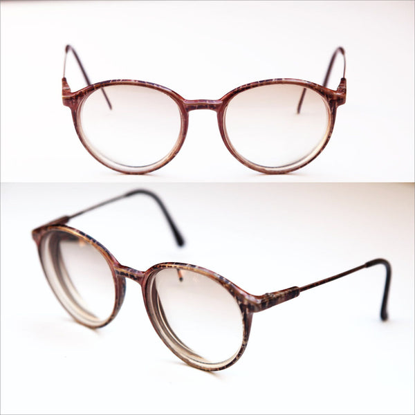 90s Round Rx Eye Glasses Plastic and Wire Rim Vintage Eyewear Unisex Frame Camouflage Pattern