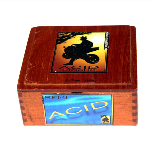 ACID CIGAR Box Dovetailed Lidded Box Motorcycle Wood Pen Box Central American Nicaragua Hand Made Jewelry Pens or Storage Box