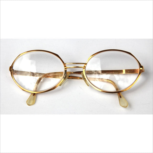 Adensco Madera  Big Round 24 K Gold Plated RX Eyewear Frame Italy Spectacles Artist Designer Engineer Architech