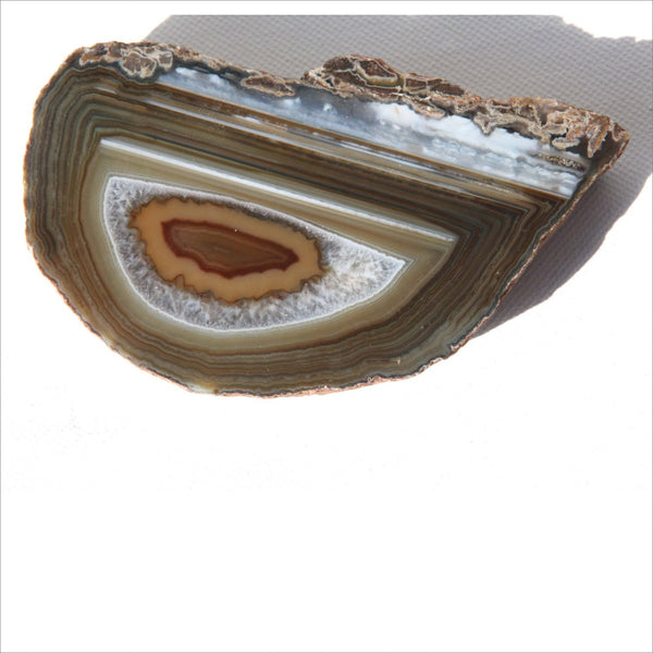 Agate Slice Crystal Earthy Green Dark Smoky Gray  Rust Layers- Sparkling Natural Art Paperweight Coaster or Book End