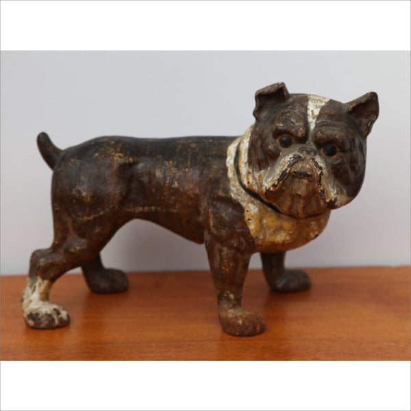 Antique HUBLEY Bulldog Doorstop Cast Iron Brown and White Patina and Age 1800s - 1900s