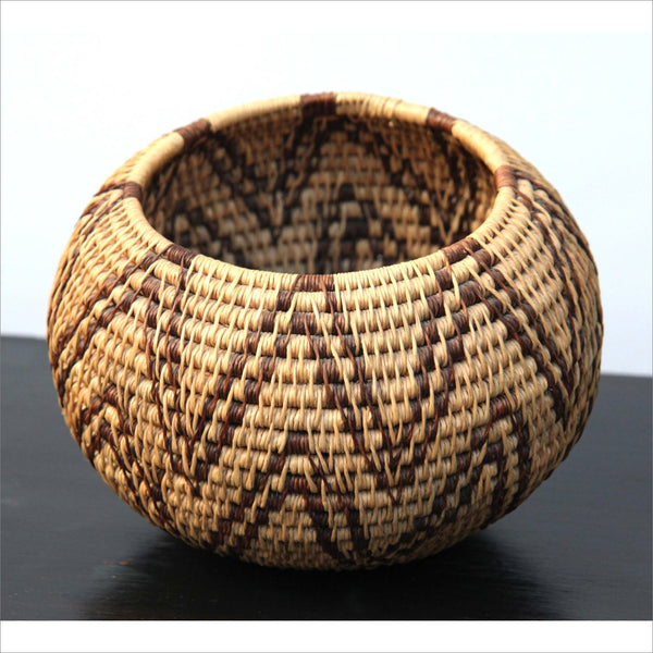 Antique Pima Native American Indian Hand Woven Coiled Basket Semi-Globular Bowl with Sacred Mountain Peaks