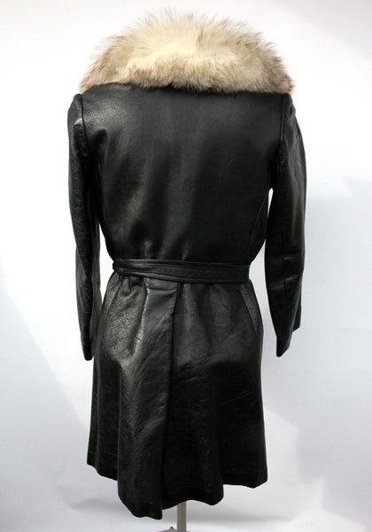 c5737d747f1a ... Arctic Fox Fur Collar Black Leather Knee Length Vintage Trench Coat for  Women by Bettys Shop ...