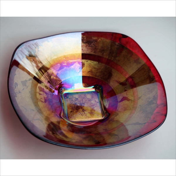 Art Glass Plate on Pedastal Base Iridescent Gold and Ruby Red Fusion Cast Glass Plate Abstract Composition
