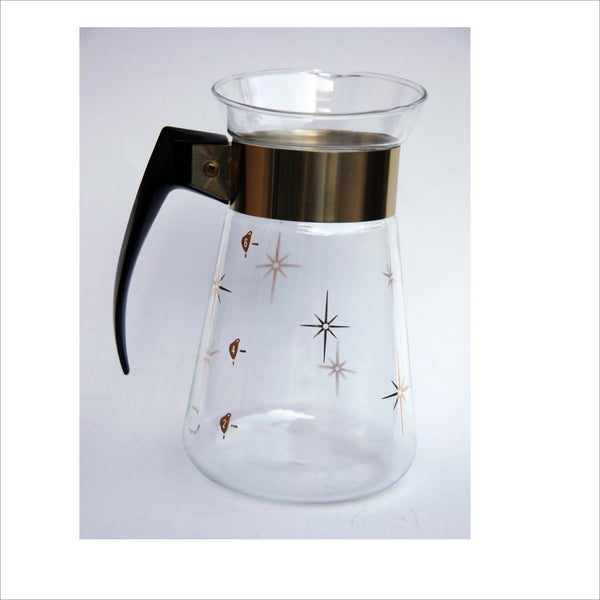 Atomic Starburst Coffee Decanter Carafe Corning Heat Proof Glass Bakelite Handle Gold Metal Band and Stars Immaculate Near New Condition