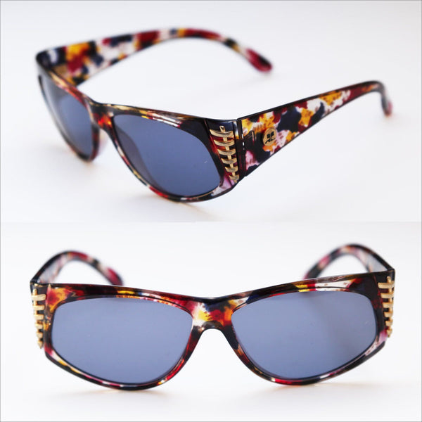 Avante Garde Over Sized Luxury Sunglasses ANDRE COURREGES Colorful Tortoise shell Frames with Decorative Gold Stitching Accents