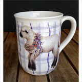 Baby Lamb with Flower Wreath Purple Plaid Porcelain Mug by OTAGIRI JAPAN Vintage Collectible
