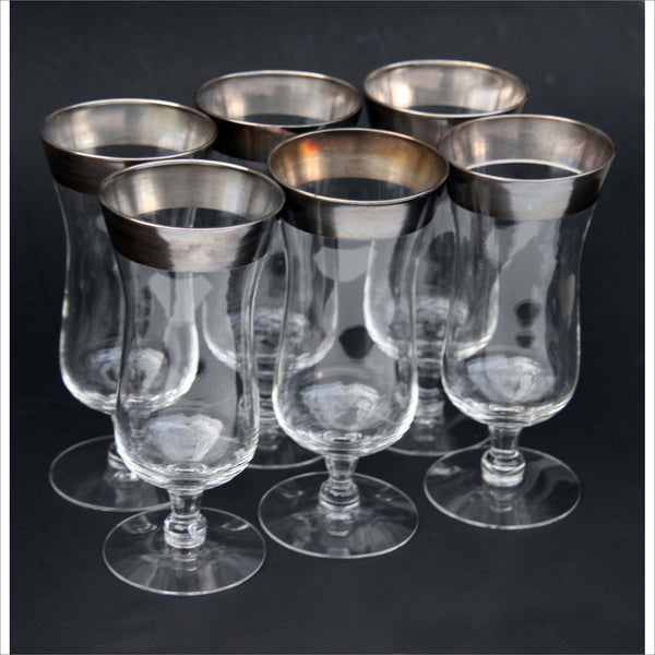 Bar Glasses Thick Sterling Silver Rim Tall Tumblers Footed Base Mid Century Modern