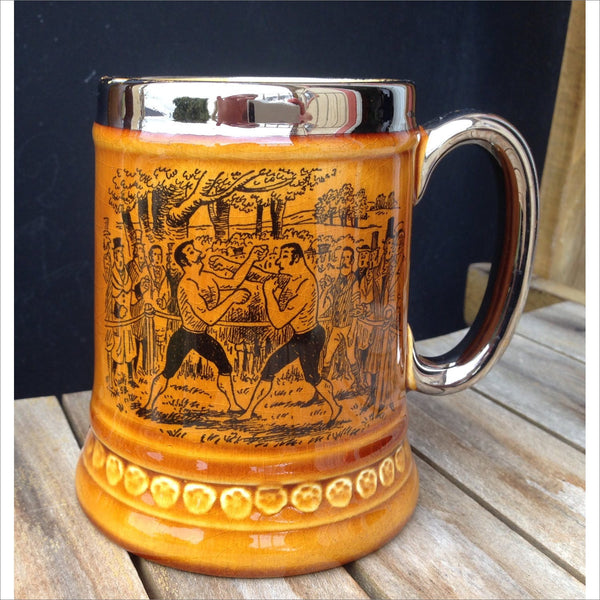 Bare Fisted Boxing Match Lord Nelson Pottery Mug England Bare Chested Mustache Men Fight for Cash Prize
