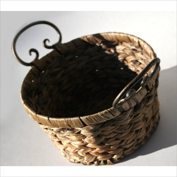 Beachcomber Seagrass Basket Hand Made Woven  with Curved Metal Handles for Storage Home Decor Keepsakes Seashells Collectible.