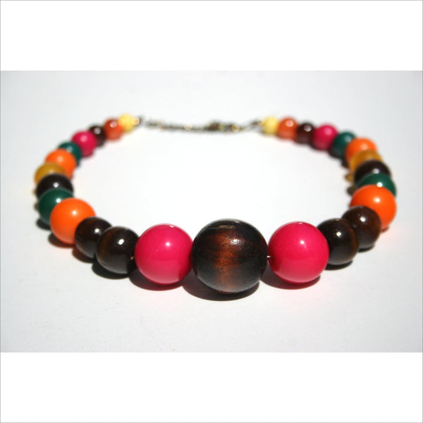 Big Bead Necklace Choker Beads Colorful Graduating Round Balls- Wood and Plastic Pink Yellow Orange