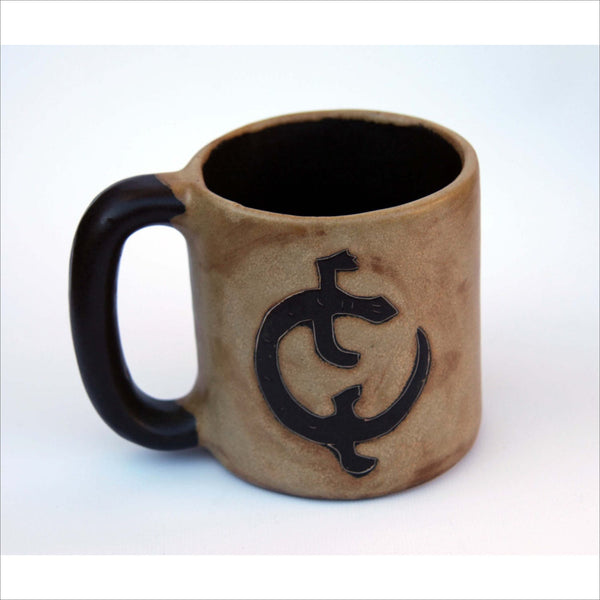 Big Pottery Signed Heavy Stoneware Mug Carved C or Lizard in the Faces in Sand and Chocolate Brown Hand Made Functional Art