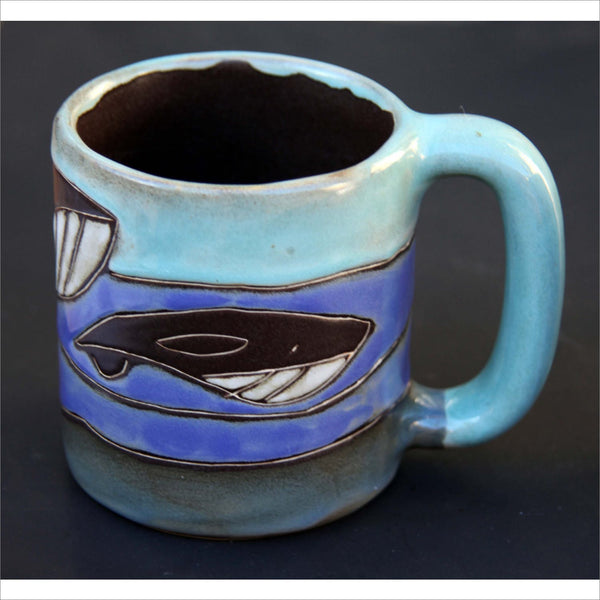 BLUE WHALE Big Hand Made Signed Pottery Sea Blue & Green Carved Family Pod of Whale Orca La Baleine Figures around the Perimeter