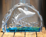 Breaching BLUE WHALE Captured in Art Glass
