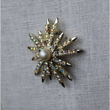 Brooch Starburst Snowflake Aurora Borealis Faux Pearl Signed Emmons Vintage Jewelry Gold Crystal Rhinestone Pearl Center