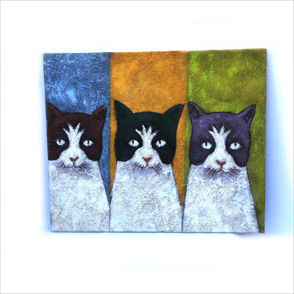 Cat Framed Art Painting Pop Art Mixed Media Textured Panel Original Painting Blue Yellow Green Tuxedo Cats