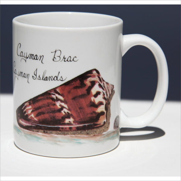 CAYMEN Island Carribean Ocean Sea Shell  Save the Ocean Souvenir Ceramic Coffee or Tea Mug in Black Brown Gold and White Like New