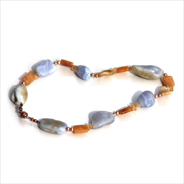 Chunky Rough Nuggets of Blue Lace Agate Fresh Water Pearl and Golden Agate Choker Necklace Jewlery Happy Communication Grace Calm Chakra