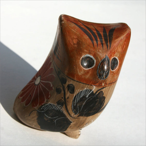 Clay Pottery Mexican  Owl Figurine with Hand Painted Feathers Flowers Talons Signed MEXICO