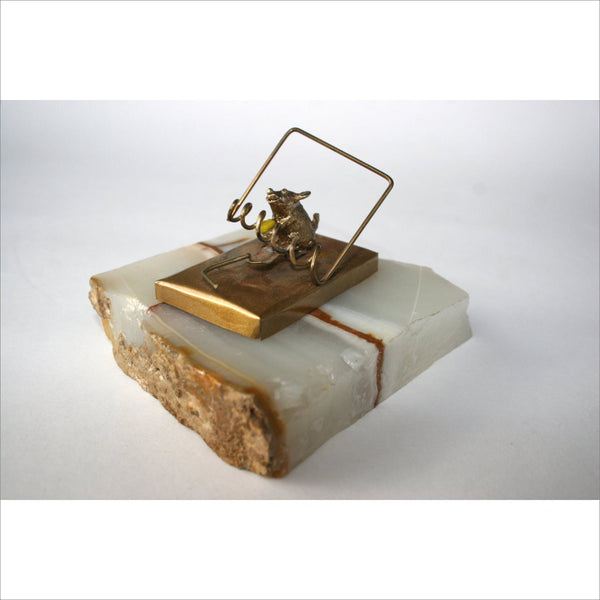 Collectors Edition 1973 - 1978 Artist JESS NELSON Mouse 24K Gold Plated Metal Sculpture Onyx Stone Base
