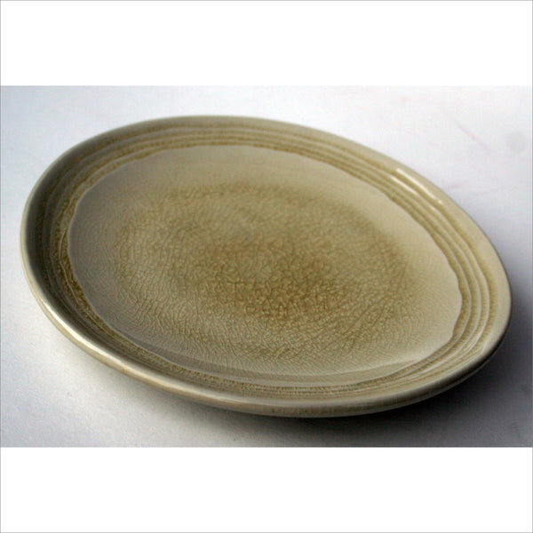 Crackle Glass Pottery Dish Oval Plate Keys Candy Fruit Home Decor in Natural Sand Beige