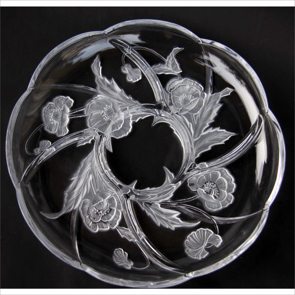 Crystal Carved Etched Poppy Flower Sectioned Serving Platter Scalloped Edge for Parties Events Weddings Birthdays