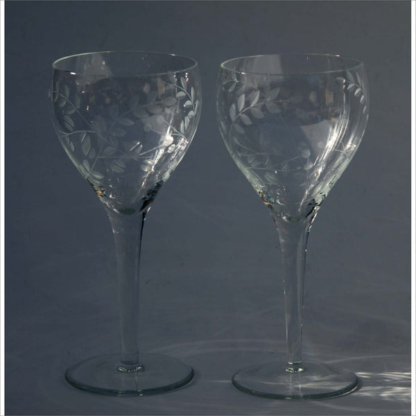 Crystal Wine Glasses Hand Carved  Etched Leaf Patterns in Art Glass Bar ware Thick Stems Set of 2