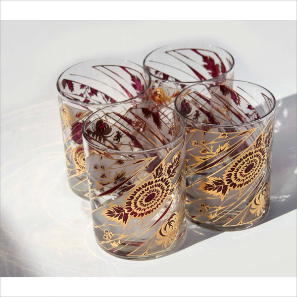 CULVER Bar Glasses 4 Mid Century Modern Gold Red Flower Pattern Big Low Ball Tumblers Vintage Set of 4
