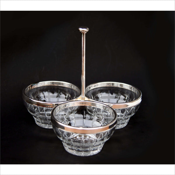 Cut Crystal Sterling Silver Plate Rims and Caddie Condiment Candy Nut Serving Bowls
