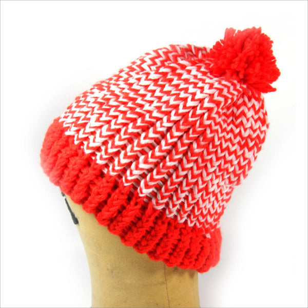 DANGER Orange and White Pom Pom Hand Knit Hat Slouch Style Toque One Size Unisex