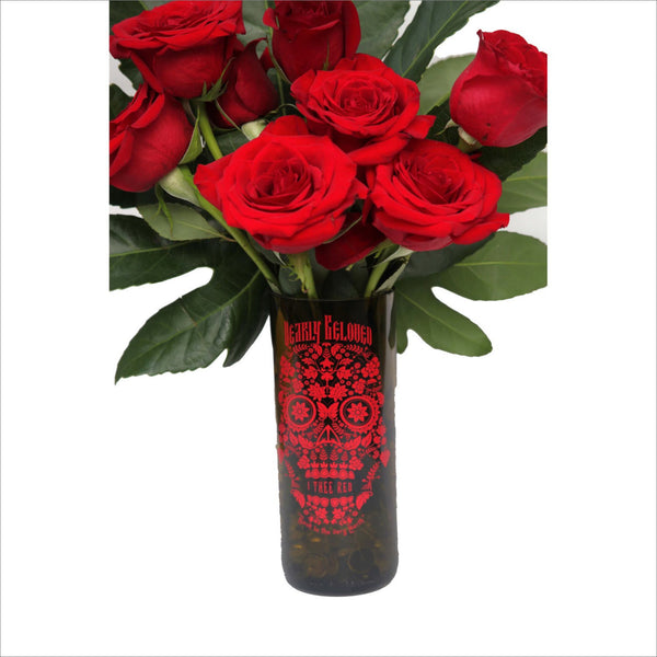 Dia De Los Muertos Mask Vase Halloween Home Decor Recycled Hand Cut Wine Bottle turned into a Vase for Flowers