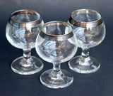 Dorothy Thorpe Sterling Silver Rim Glasses Hand Painted Rim Wine Glass Set Don Draper Style Small Vintage Pedestal Glasses Patina &Tarnish
